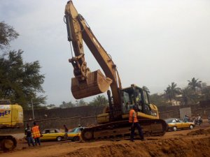 Road construction in progress in Freetown