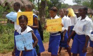 School pupils in Sierra Leone demonstrating against sexual abuse