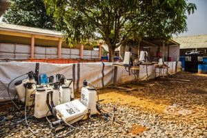 An empty Ebola virus decontamination zone at the Hastings treatment clinic in Freetown, Sierra Leone, Jan. 23, 2015