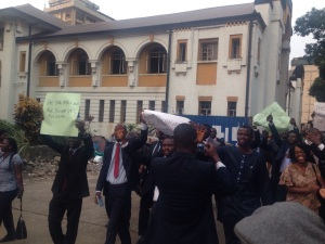 Some Lawyers demonstrating in Freetown