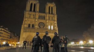 Police patrol near Notre Dame Cathedral following a series of deadly attacks in Paris, Nov. 14, 2015.