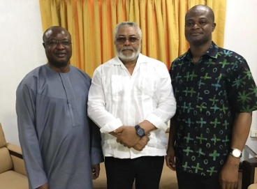 President Rawlings in a pose with Chief Sam-Sumana and Dr. Raymond Atuguba