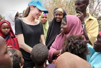 "Angelina Jolie visits ""dire"" refugee settlement on Kenyan border with Somalia"