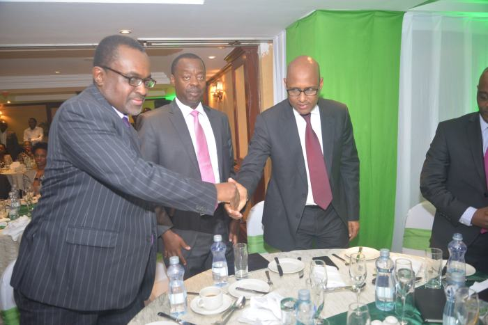 Fanisi Capital Managing Partner Tony Wainaina(L), RBA CEO Nzomo Mutuku and Industrialisation CS Adan Mohammed during the Investor breifing on 14th June at Norfolk