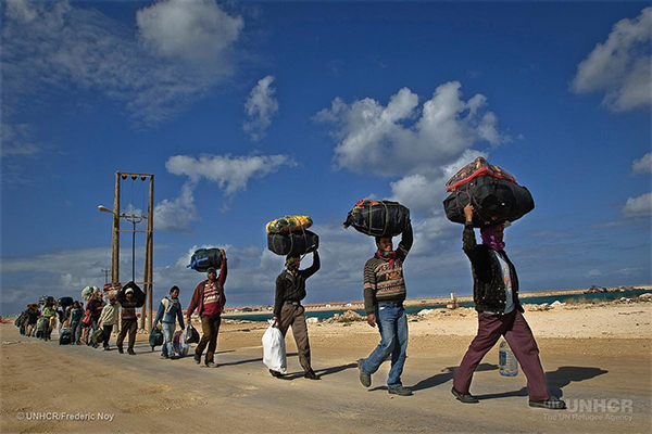 Libya. Refugees and migrants workers in Benghazi port