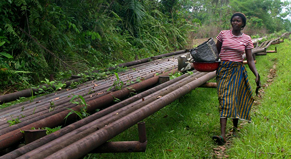 A woman walks along an oil pipeline in Nigeria's oil-rich Delta